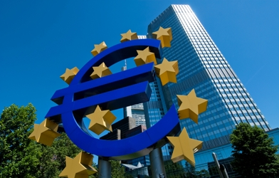 The Euro Symbol in front of the European Central Bank in Frankfurt, Germany