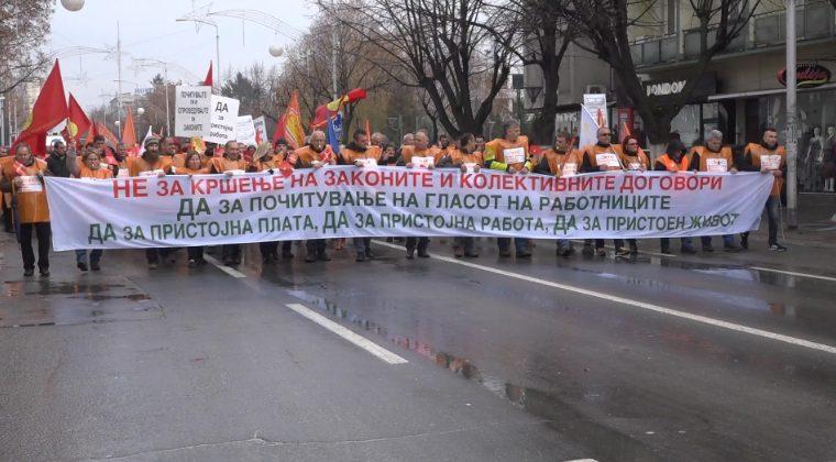 Протест на Конфедерацијата на Слободни Синдикати во Прилеп