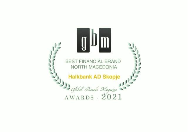 """Глобал брендс магазин ја прогласи Халкбанк за """"Најдобар финансиски  бренд за 2021 година"""""""